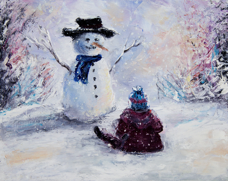 oil pastels: Original  abstract oil painting of beautiful  snowman and child on canvas.Winter scene.Modern Impressionism, modernism, marinism