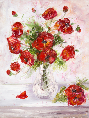 Original  oil painting of beautiful vase or bowl of fresh  poppy flowers.  on canvas.Modern Impressionism, modernism,marinism