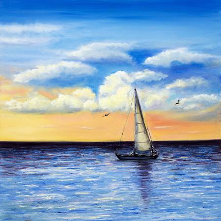 Origineel olieverfschilderij van zeilschip of boot en de zee op canvas.Rich Gouden Zonsondergang boven ocean.Modern impressionisme, het modernisme, marinisme Stockfoto - 49123929