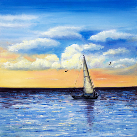 Original oil painting of sailing ship or boat and sea on canvas.Rich Golden Sunset over ocean.Modern Impressionism,modernism,marinism Foto de archivo