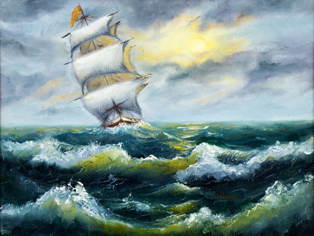 Original oil painting of sailing ship and sea on canvas.Stoem in ocean.Modern Impressionism,modernism,marinism