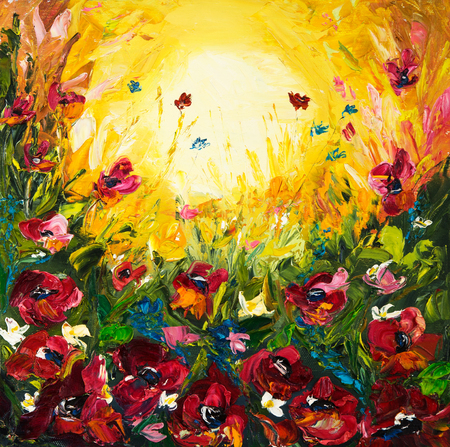 papaver: Original oil painting of Opium poppy( Papaver somniferum) field in front of beautiful sunset  on canvas.Modern Impressionism,modernism,marinism