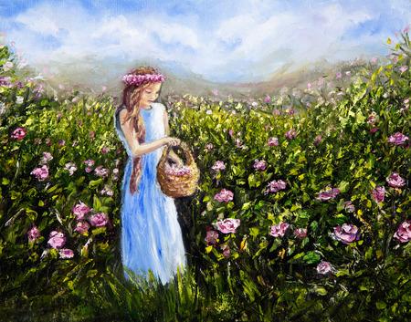 Origineel olieverfschilderij toont jonge vrouw of meisje plukken bloemen in bloei veld op canvas.Modern impressionisme, het modernisme, marinisme