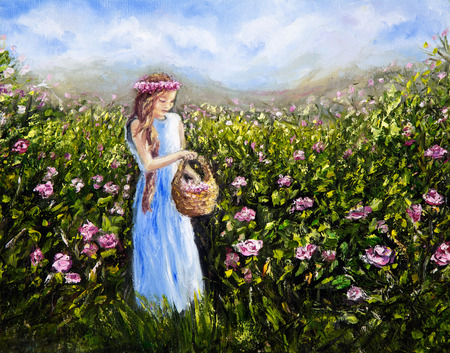 Original oil painting showing young woman or girl picking flowers in flower  field  on canvas.Modern Impressionism,modernism,marinism
