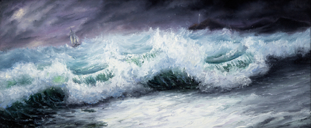 canvas: Original oil painting showing mighty storm in ocean or sea on canvas. Modern Impressionism, modernism,marinism