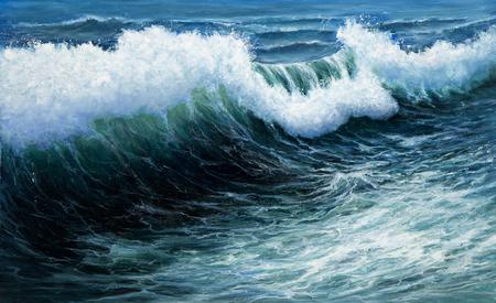 Pintura al óleo original mostrando poderosa tormenta en el océano o el mar en la lona. Impresionismo Moderno, el modernismo, marinismo