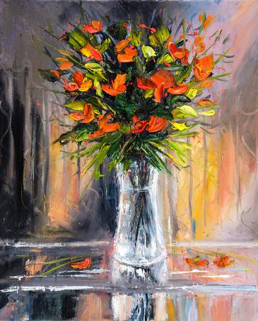 Origineel olieverfschilderij van mooie vaas of schaal van verse bloemen. op canvas.Modern impressionisme, het modernisme, marinisme