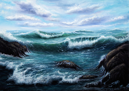 artist's canvas: Original oil painting showing  ocean or sea on canvas. Modern Impressionism, modernism,marinism Stock Photo