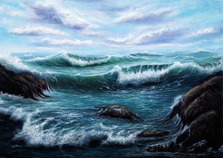 pintura al óleo original que muestra océano o el mar en la lona. Impresionismo moderno, modernismo, marinismo