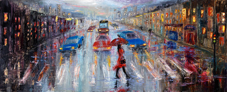 dark street: Original oil painting showing beautiful young woman in red,holding red umbrella crossing the city street on canvas. Modern Impressionism, modernism,marinism