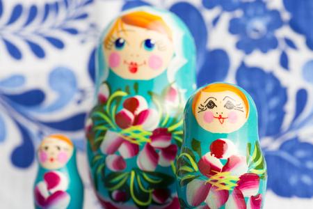 matriosca: Russian traditional wooden nesting dolls matryoshka.Shallow DOF,with  reflection