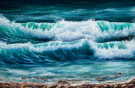 fine weather: Original oil painting showing  ocean or sea on canvas. Modern Impressionism, modernism,marinism Stock Photo