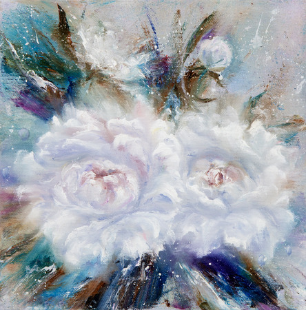 modernism: Original oil painting showing White peony flowers bouquet. Genus Paeonia, family Paeoniaceae.Modern Impressionism, modernism,marinism