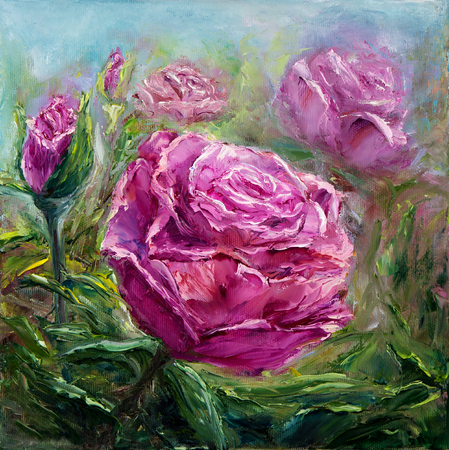 genus: Original oil painting showing pink peony flowers bouquet. Genus Paeonia, family Paeoniaceae.Modern Impressionism, modernism,marinism