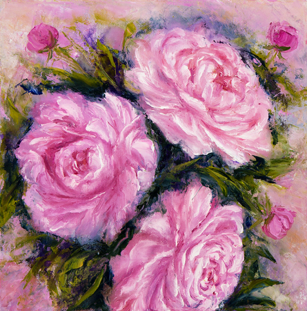 modernism: Original oil painting showing pink peony flowers bouquet. Genus Paeonia, family Paeoniaceae.Modern Impressionism, modernism,marinism