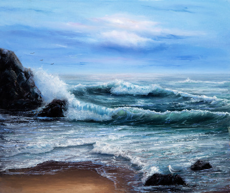 seascape: Original oil painting showing  ocean or sea on canvas. Modern Impressionism, modernism,marinism Stock Photo