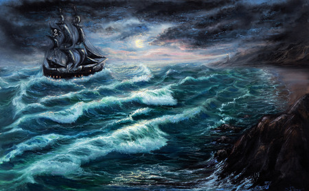 seascape: Original oil painting showing pirate ship   in  stormy ocean or sea on canvas. Modern Impressionism, modernism,marinism