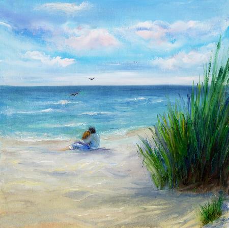 Pintura al óleo original que muestra pareja en el amor que se sienta en la playa y mirando al océano o el mar en la lona. Impresionismo moderno, modernismo, marinismo