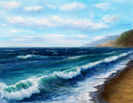 canvas: Original oil painting showing  ocean or sea on canvas. Modern Impressionism, modernism,marinism Stock Photo