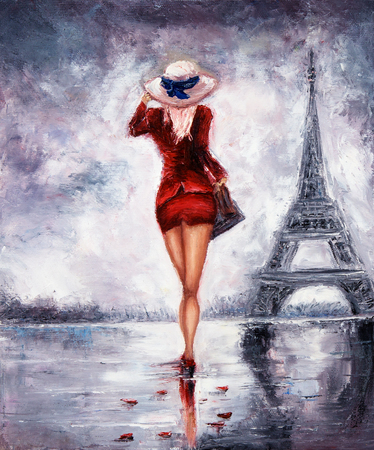 Original oil painting showing beautiful young woman in red dress and white cappella hat walking towards the Eiffel tour in Paris on canvas. Modern Impressionism, modernism,marinism
