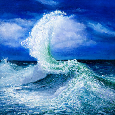 Original oil painting showing waves in  ocean or sea on canvas. Modern Impressionism, modernism,marinism Foto de archivo