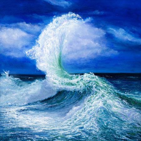 Pittura a olio originale che mostra le onde in mare o sul mare su tela. Impressionismo moderno, il modernismo, marinismo