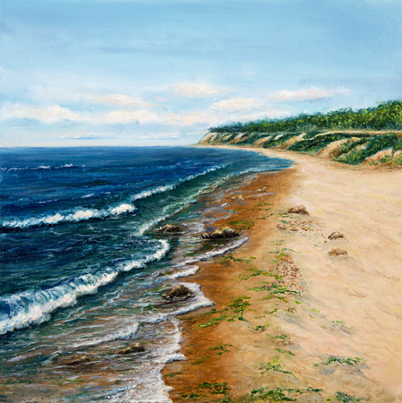 sea shore: Original oil painting showing  ocean or sea,shore or beach on canvas. Modern Impressionism, modernism,marinism