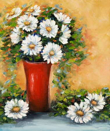 Original  oil painting of beautiful vase or bowl of fresh daisy flowers.  on canvas.Modern Impressionism, modernism,marinism