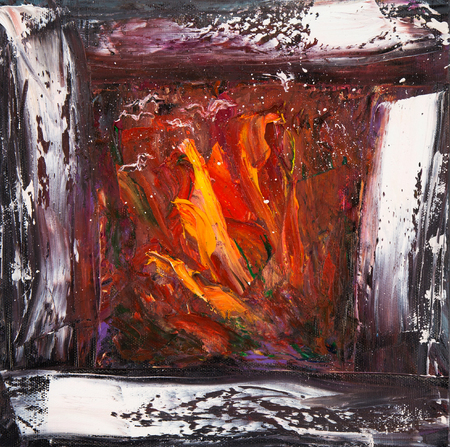 cosy: Original abstract  oil painting showing warm and cosy fireplace with fire in cold winter night on canvas. Modern Impressionism, modernism,marinism