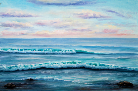 fine weather: Original oil painting showing  ocean or sea,shore or beach on canvas. Modern Impressionism, modernism,marinism