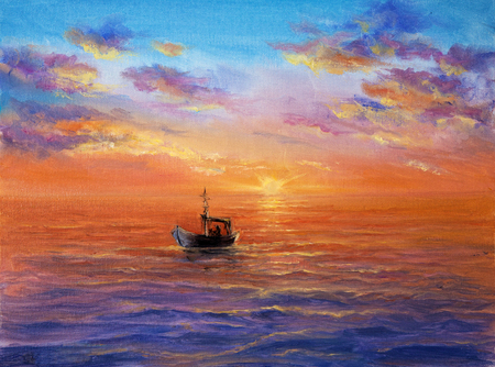 Original abstract oil painting of fishing boat    and sea on canvas.Rich Golden Sunset over ocean.Modern Impressionism Stock fotó