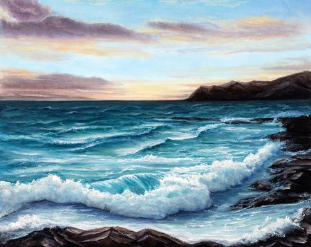 Origineel olieverfschilderij toont oceaan of de zee, kust of het strand op canvas. Modern Impressionisme, het modernisme, marinisme