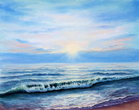 dawning: Original oil painting showing  ocean or sea,shore or beach on canvas. Modern Impressionism, modernism,marinism