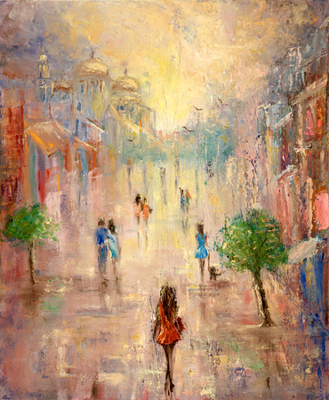 Abstract painting of people having a walk on city street on canvas.Modern Impressionism, modernism,marinism