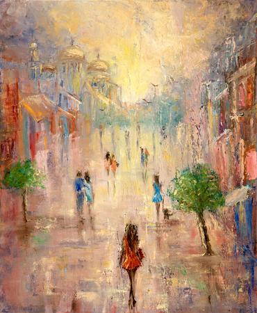 cuadros abstractos: La pintura abstracta de las personas que tienen un pie en la calle el canvas.Modern impresionismo, el modernismo, marinismo