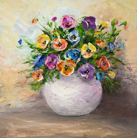 Original  oil painting of beautiful vase or bowl of fresh   flowers.  on canvas.Modern Impressionism, modernism,marinism
