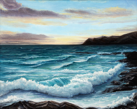 seascape: Original oil painting showing  ocean or sea,shore or beach on canvas. Modern Impressionism, modernism,marinism