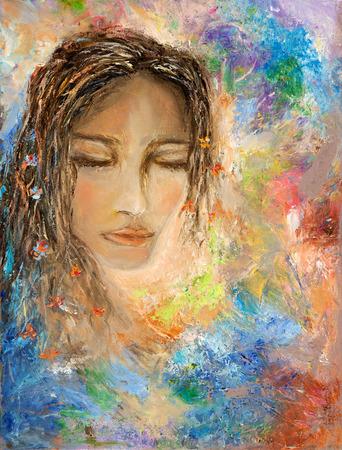 キャンバスに目を閉じて女性の抽象絵画。現代の印象派、モダニズム、marinism