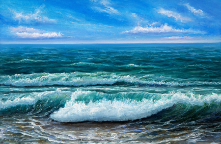 Original oil painting showing  ocean or sea,shore or beach on canvas. Modern Impressionism, modernism,marinism