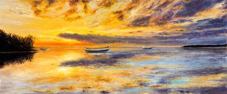 元ボートとキャンバス上の海の油絵。海の上の豊かな黄金の夕日。Panorama.Modern 印象派