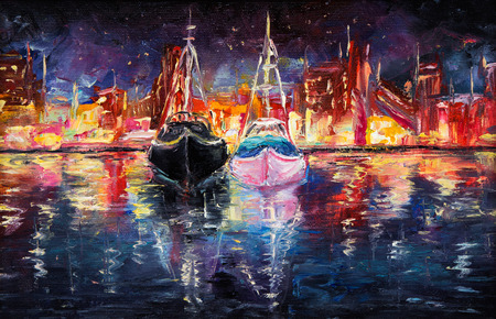 Original oil painting of wharf full of boats at night on canvas.Abstract city and pier.Modern Impressionism