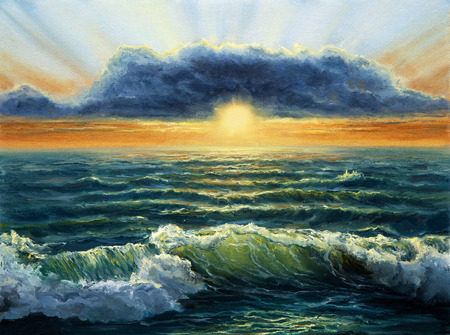 Original oil painting of  Ocean and beach on canvas.Rich golden  Sunset over ocean.Modern Impressionism Stock fotó