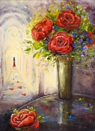modernism: Original  oil painting of beautiful vase or bowl of fresh   flowers and woman in distance  on canvas.Modern Impressionism, modernism,marinism