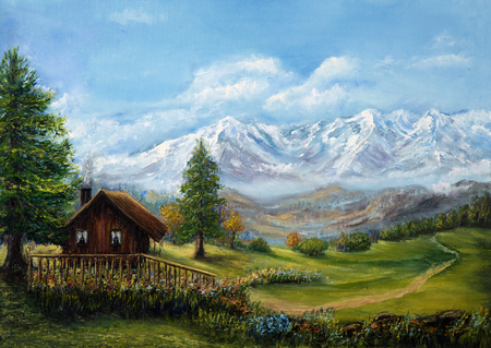cottage: Original oil painting of house or chalet in the mountains on canvas.Mountain landscape.Modern Impressionism