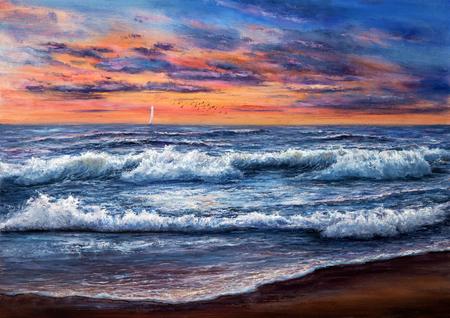 Origineel olieverfschilderij van Oceaan en strand op canvas.Rich gouden zonsondergang over oceaan. Moderne impressionisme Stockfoto