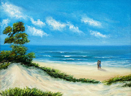 Original oil painting of  Ocean and beach on canvas.Young couple enjoying the landscape.Modern Impressionism