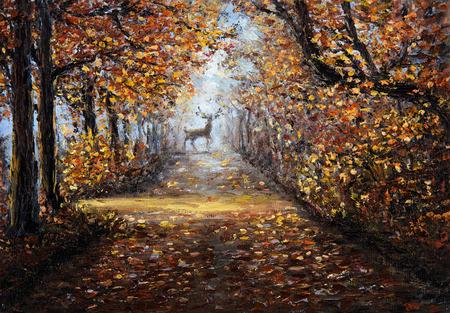 Original Ölgemälde von schönen Park oder Wald auf Leinwand.Deer am Ende des Weges.Moderner Impressionismus, Modernismus, Marinismus Standard-Bild