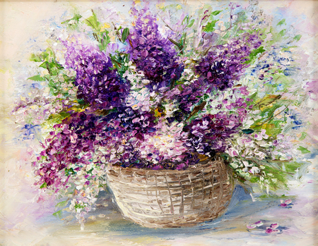 Original  oil painting of beautiful vase or bowl of fresh lavender    flowers.  on canvas.Modern Impressionism, modernism,marinism  Stock fotó