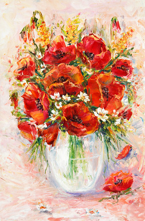 papaver: Original  oil painting of beautiful vase or bowl of fresh   flowers  on canvas.Opium poppy( Papaver somniferum).Modern Impressionism, modernism,marinism  Stock Photo