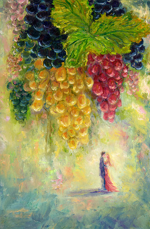 Original  oil painting of bunch of grapes and couple kissing in distance  on canvas.Modern Impressionism, modernism,marinism Stock fotó